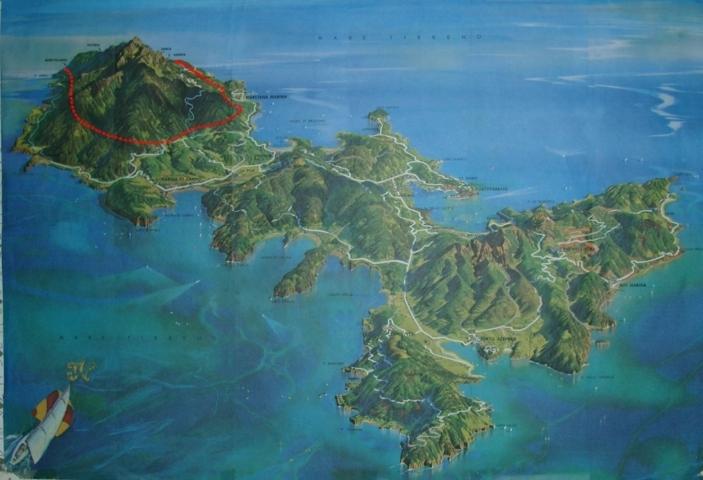 Veduta dell'Isola d'Elba con il tracciato del serbatoio-galleria